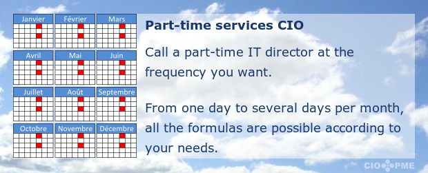 Part-time CIO services. From one day to several days per month, all the formulas are possible according to your needs.